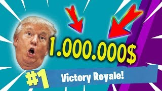 DONALD TRUMP BET 1.000.000$ ON THIS WIN !!! MUST WATCH ! FORTNITE BATTLE ROYALE GAMEPLAY