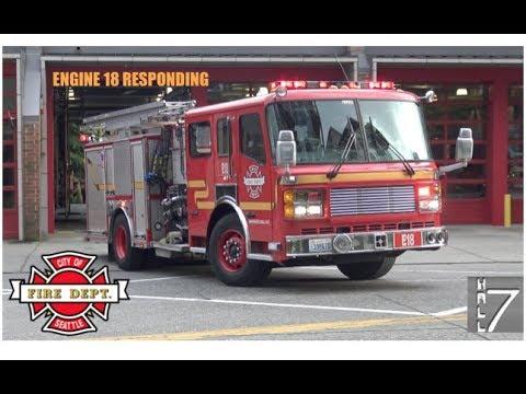 Seattle Fire Department - Engine 18 Responding