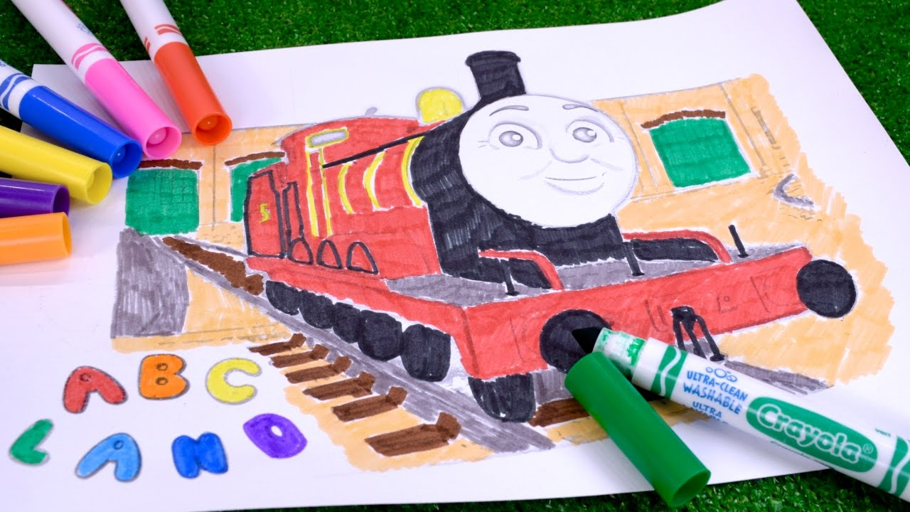 james the red engine coloring page with thomas and friends