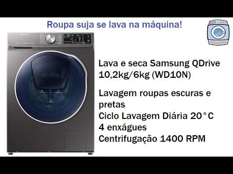 408154688 Lava e seca Samsung QDrive 10,2kg/6kg (WD10N) - Roupas escuras e ...