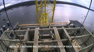 Queensferry Crossing  - First Deck Section on Centre Tower   October 2014