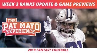 2019 Fantasy Football Week 3 Rankings Update Live — DraftKings Picks, Injuries & Viewer Chat