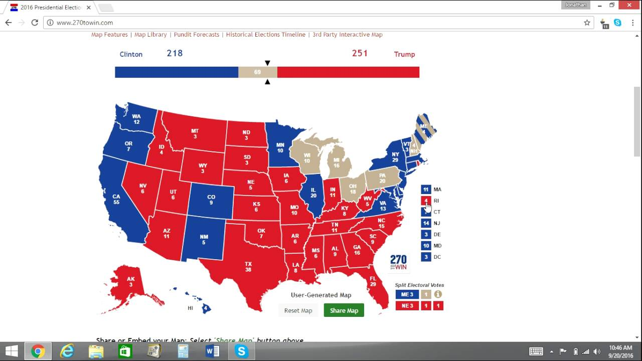 2016 Electoral Map Prediction Trump vs Clinton 7 Weeks From