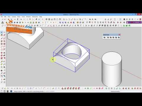 how to subtract , union , trim in sketchup, dạy sketchup Cách cộng trừ hợp khối trong sketchup ,