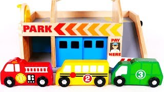 Learn Colors and Counting Numbers with Parking Service and Car Wash Service Playset for Children