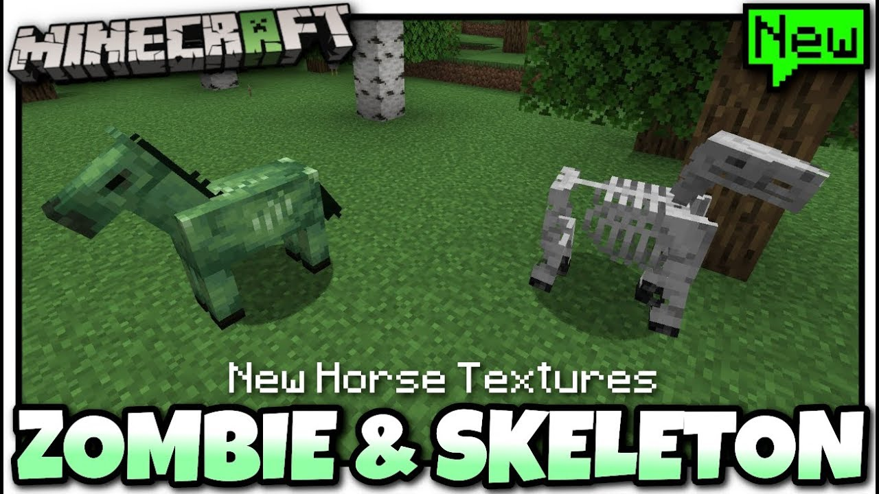 Minecraft - NEW ZOMBIE & SKELETON HORSE TEXTURE [ Coming Soon ? ] Java /  Bedrock / Console