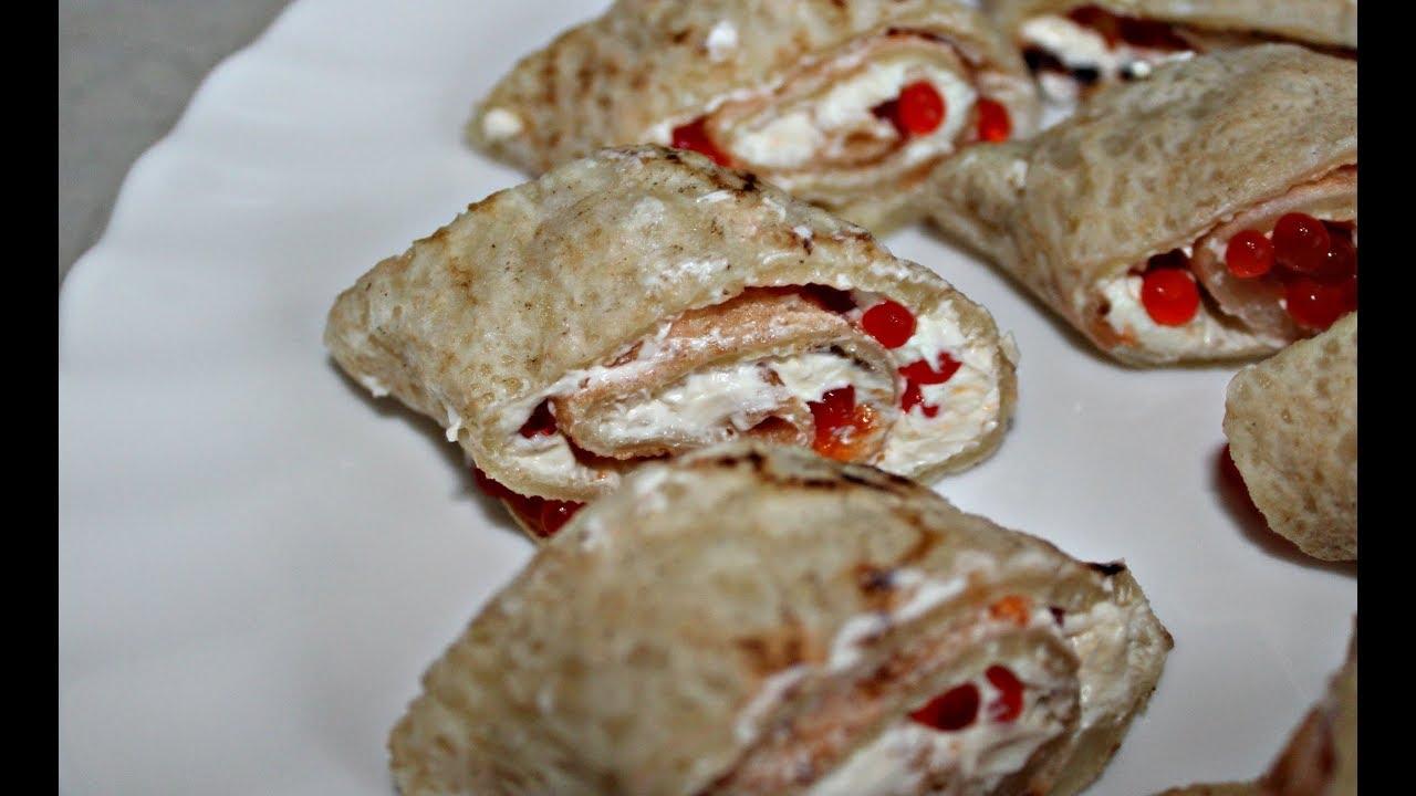 Блины с красной икрой.  Холодная закуска с красной икрой.