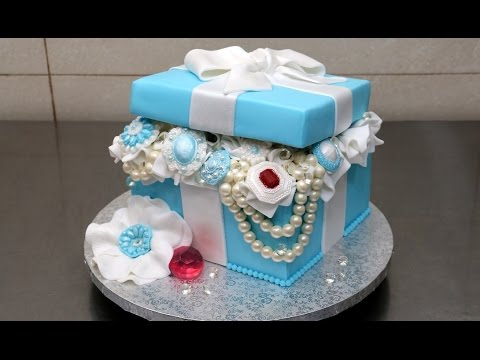 Tiffany Gift Box Pearls and Diamonds Cake by CakesStepbyStep