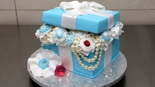 Tiffany Gift Box Pearls and Diamonds Cake by CakesStepbyStep