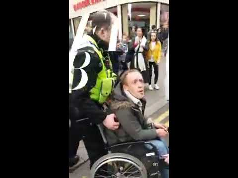 Police and P.C.S.O. BULLYING A HOMELRSS MAN IN LEEDS CITY CENTRE