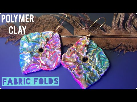 HOW TO MAKE FABRIC FOLDS OF POLYMER CLAY. EARRINGS WITH MINI CRUMPLED EFFECT