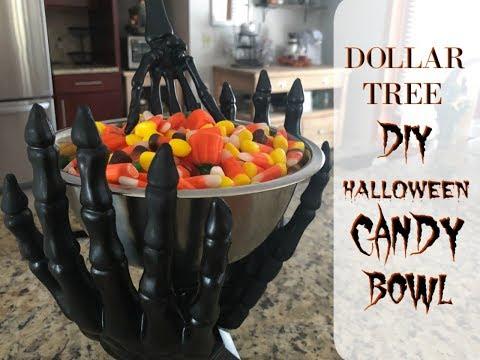 DOLLAR TREE HALLOWEEN DIY| SKELETON CANDY BOWL DIY| Megan Navarro