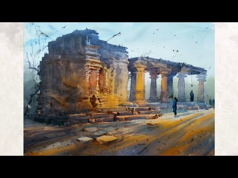 Plein air watercolour landscape painting  Ganesh Hire