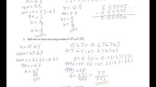 Intro to converting recurring decimals to fractions