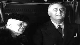 U.S. President Franklin Roosevelt, Sara Roosevelt, and Eleanor Roosevelt, at poll...HD Stock Footage