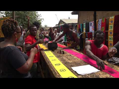Adinkra Printed Cloth Demonstration at Ntonso Village - Ghana Tour Nov 2017