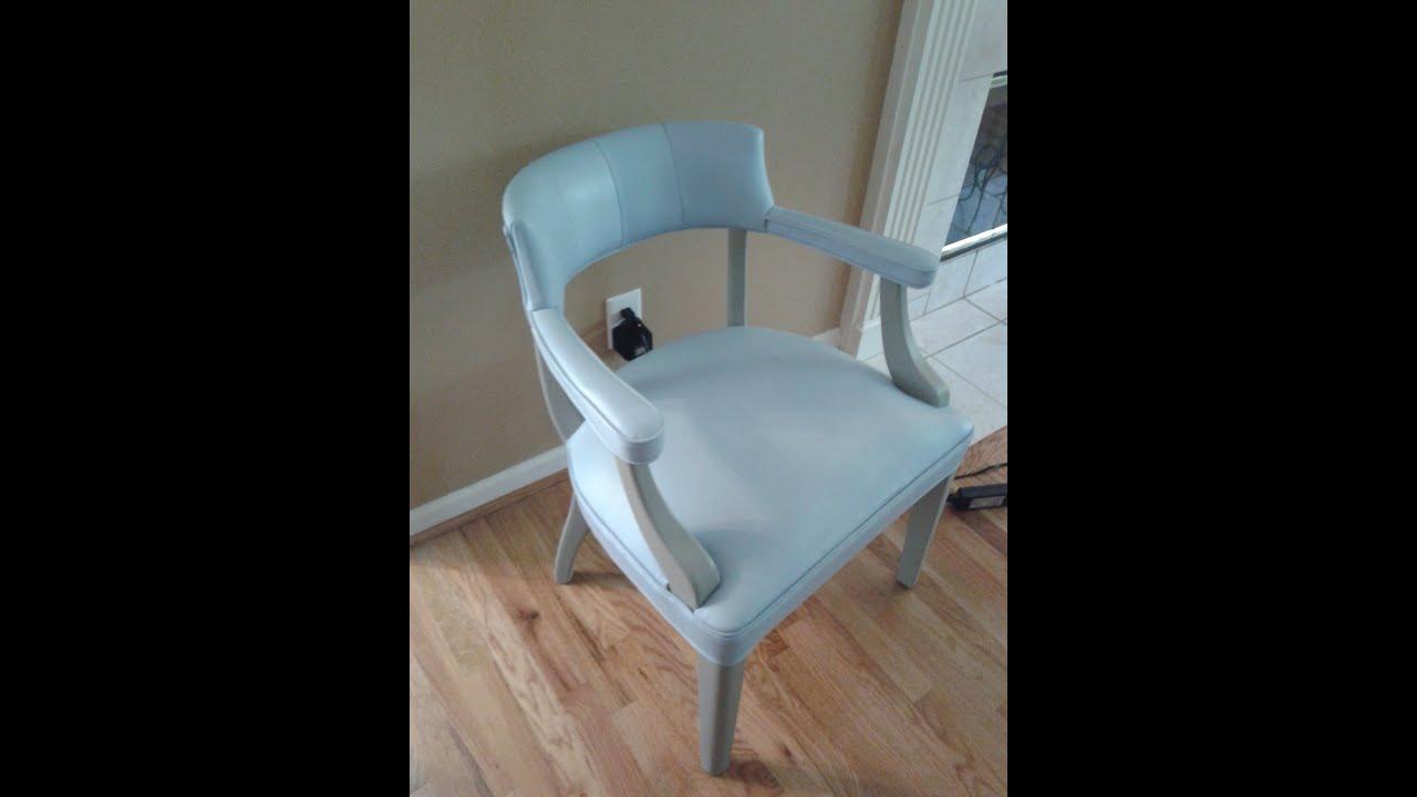 Annie Sloan Chalk Paint Painted Leather Chair Louis Blue