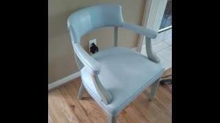 Annie Sloan Chalk Paint Painted Leather Chair Louis Blue French Linen