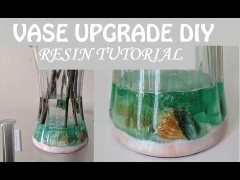 DIY Simple Vase upgrade with ocean bottom- resin tutorial