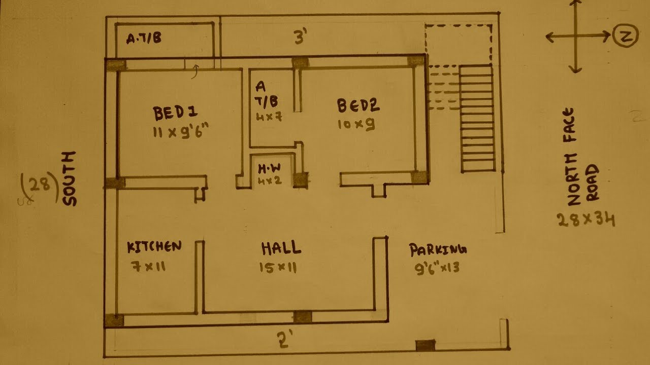 28 × 34 North face house plan map naksha