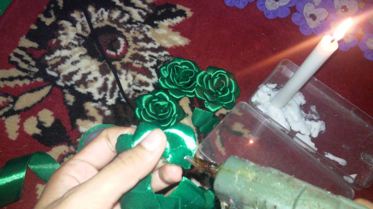 DIY || Membuat Mawar Bakar (Rose Burn) dari Pita Satin 1 ... - photo#16