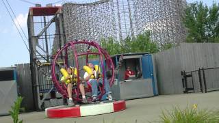 My son and I ride the Slingshot at Kings Island; Ground level view.