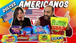 PROBAMOS DULCES AMERICANOS!!! Rainbow Nerds RETO SNACKS AMERICANOS!! TRYING AMERICAN CANDY CHALLENGE