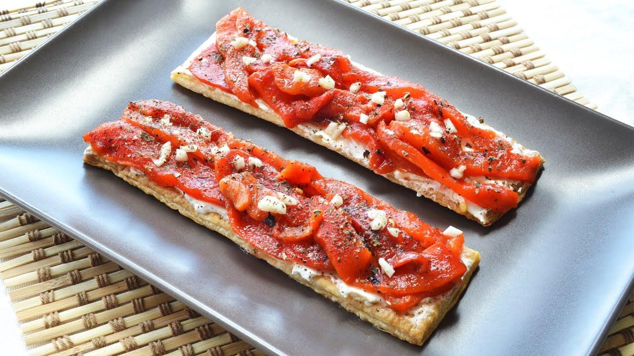 Hojaldre con pimientos asados recetas de aperitivos - Platos originales y sencillos ...