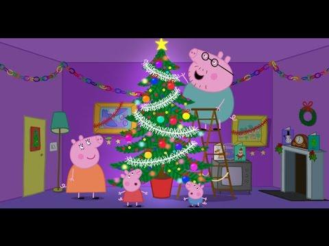 Dibujo para colorear peppa pig y familia en navidad - Arbol de navidad para colorear ...