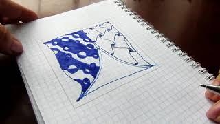 Как нарисовать тангл черной ручкой из нескольких узоров в технике зенарт, дудлинг