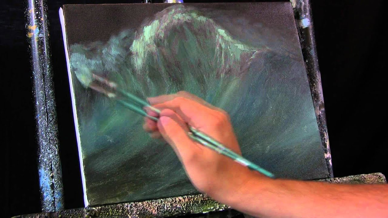 Time Lapse Acrylic Painting Ocean Wave Crashing With