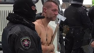 Berkut beats a naked man on a 10-degree frost | EuroMaidan