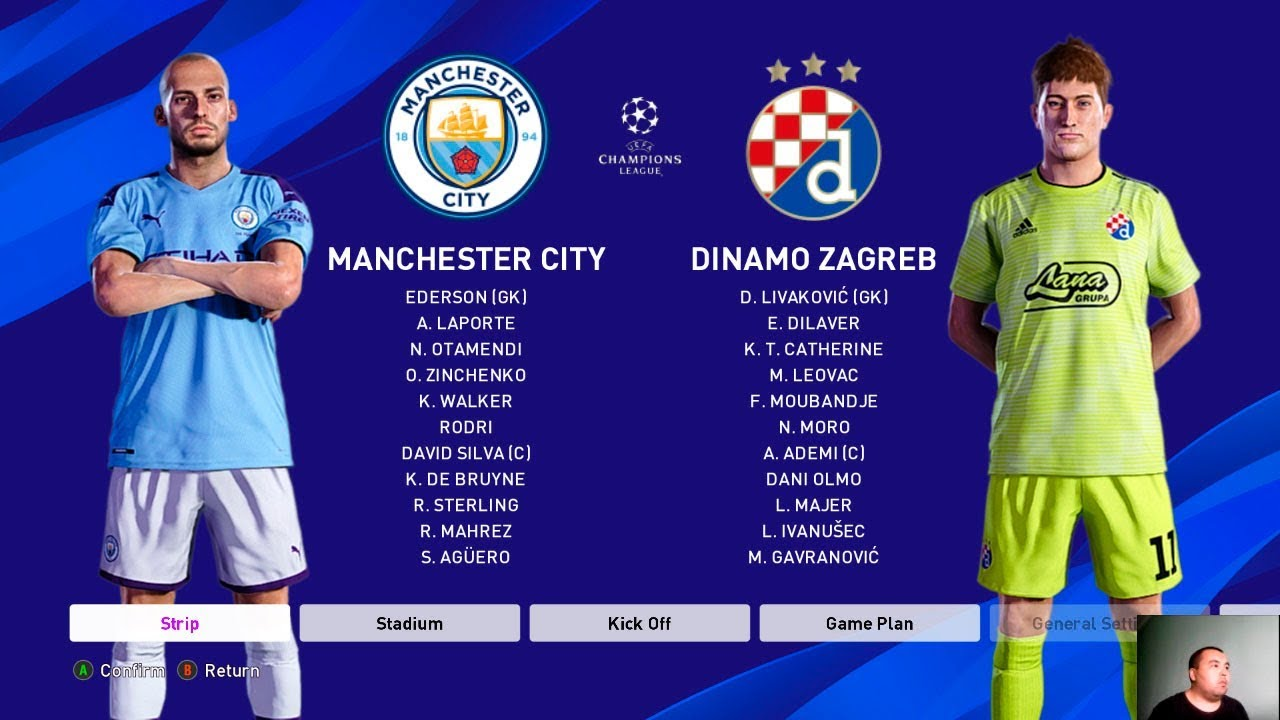 Pes 2020 Manchester City Vs Dinamo Zagreb Uefa Champions League 19 20 Youtube