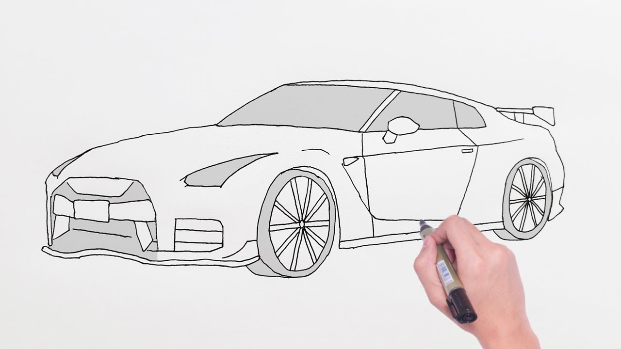 How To Draw Nissan Gtr Sports Luxury Car Easy Drawing Cars