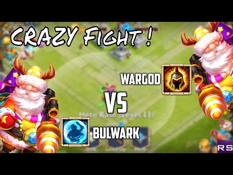 Castle Clash : Evolved Santa Boom 7/8 Bulwark Vs 7/8 War-god !!! Crazy REsULts !!!
