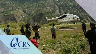 Shelter Supply Distribution by Helicopter | CRS Nepal Earthquake Recovery