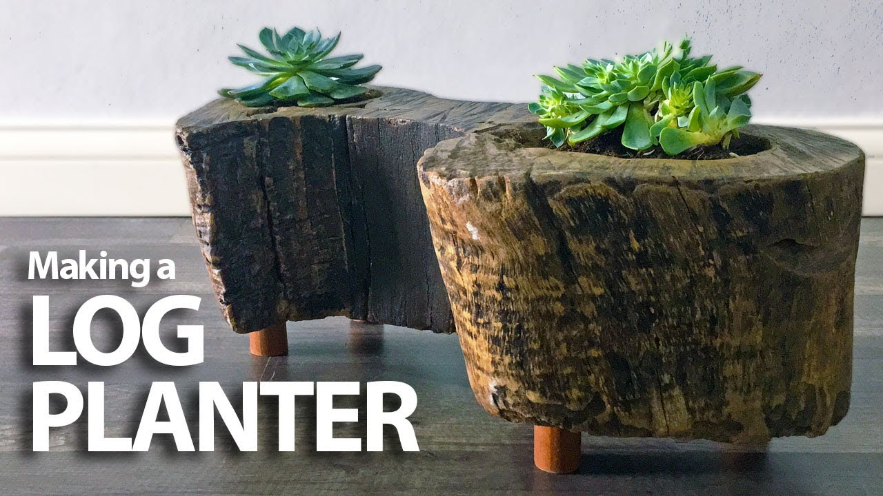 Turning A Log Into A Planter // DIY