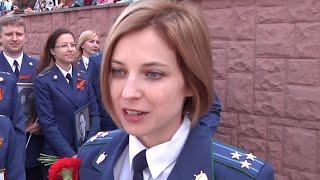 Crimean 'prosecutie' Natalia Poklonskaya marches at Victory Day parade