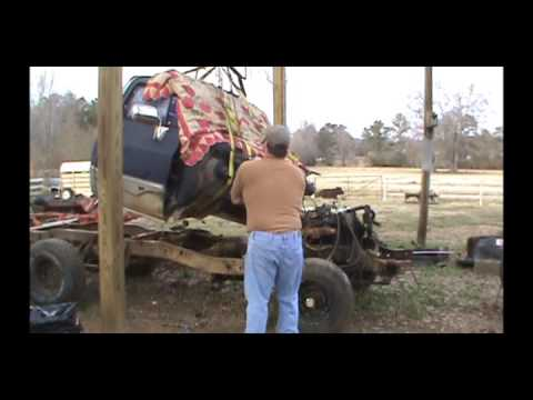 1985 Chevy K10 Restoration Part 6 - Cab Removal - YouTube