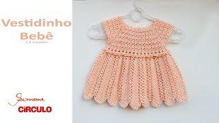 Vestidinho em Crochê para bebê 1 à 3 meses Prof. Simone Eleotério