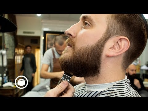 Slicked Back Mens Haircut With Beard Trim