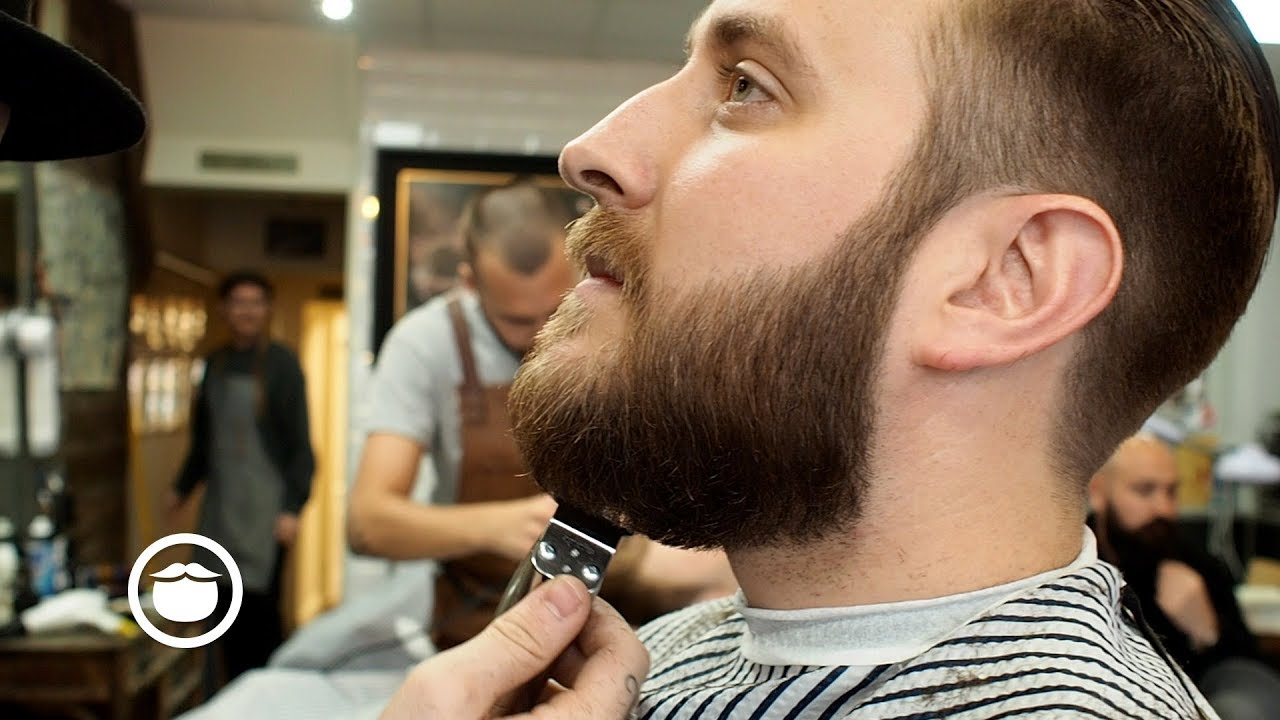 Slicked Back Men S Haircut With Beard Trim Youtube
