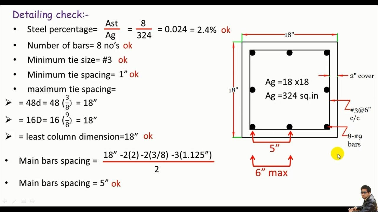 RCD:- Design of a Square reinforced concrete column based on ACI codes part  1/2