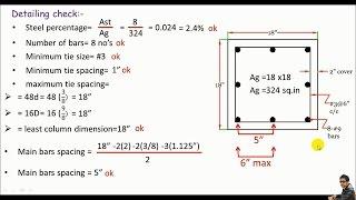 RCD:- Design of a Square reinforced concrete column based on ACI codes part 1/2