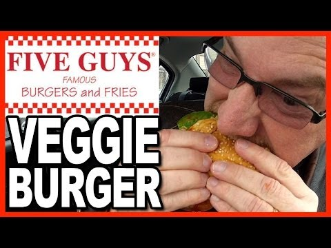 Five Guys Burgers and Fries Veggie Burger Review with Cajun Fries