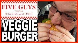 Five Guys Burgers and Fries Veggie Burger Review with Cajun Fries