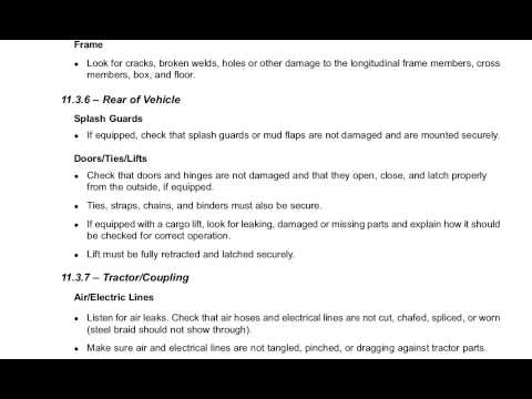 Section 11 Pre-Trip vehicle Inspection Test New York Commercial Drivers Manual