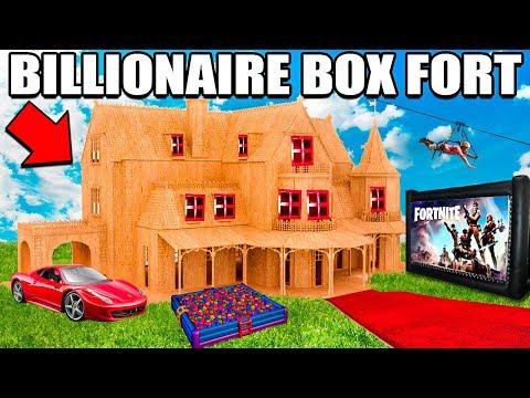 WORLDS BIGGEST BILLIONAIRE BOX FORT CHALLENGE! 24 Hour: Fortnite Gaming Room, Ball Pit, Nerf & More