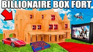 WORLDS BIGGEST BILLIONAIRE BOX FORT CHALLENGE! 24 Hour: Fortnite Gaming Room, Ball Pit, Nerf & More