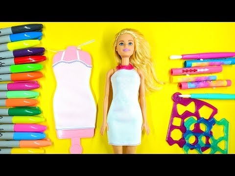 Coloring Fashion Dresses for Barbie with Real Fabric and Color 01 💜 (4K)